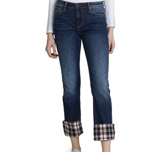 NWT DRIFTWOOD Colette Plaid Cuff Straight Jeans